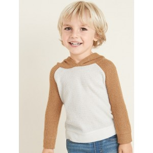Color-Block Thermal Raglan Hoodie for Toddler Boys