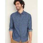 Regular-Fit Printed Twill Workwear Shirt for Men