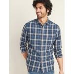 Regular-Fit Plaid Twill Workwear Shirt for Men