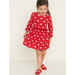 Fit & Flare Valentine-Graphic Soft-Brushed Dress for Toddler Girls
