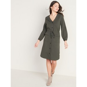 Waist-Defined Ponte-Knit Utility Dress for Women