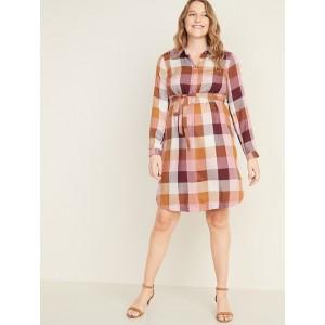 Maternity Plaid Tie-Belt Utility Shirt Dress
