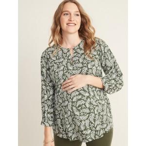 Maternity Smocked-Shoulder Printed Swing Blouse