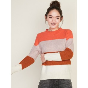 Cozy Color-Block Boucle Sweater for Women