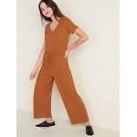 Boucle-Knit Waist-Defined Jumpsuit for Women