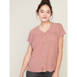 Shirred Button-Front Shirt for Women