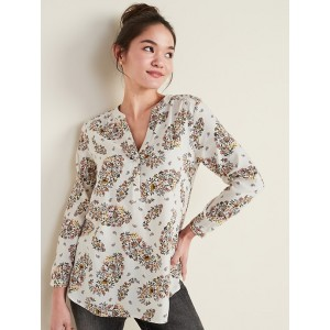 Floral-Print Split-Neck Tunic for Women