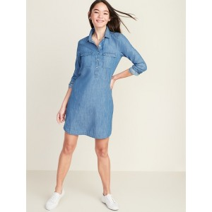 Chambray Utility Shirt Dress for Women