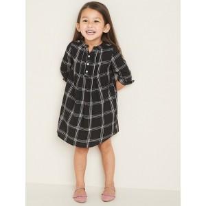 Plaid Pintuck A-Line Shirt Dress for Toddler Girls