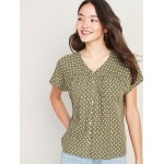 Button-Front Shirred Blouse for Women