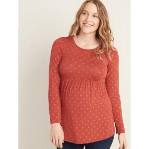 Maternity Printed Jersey-Knit Peplum-Hem Top