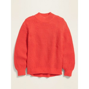 Textured-Knit Blouson-Sleeve Sweater for Girls