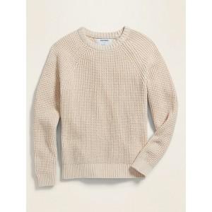Textured Raglan-Sleeve Crew-Neck Sweater for Boys