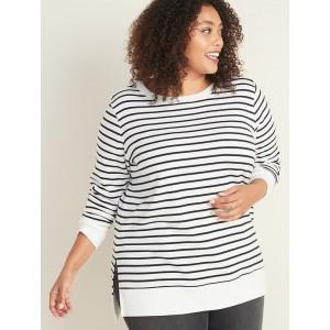 French Terry Boyfriend Plus-Size Tunic Sweatshirt