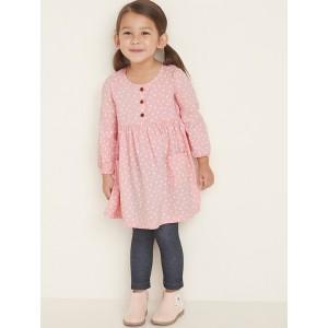 Polka-Dot Henley Swing Dress for Toddler Girls
