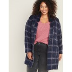 Oversized Plus-Size Textured Plaid Cardi Coat
