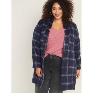 Oversized Plus-Size Textured Plaid Cardi Coat