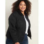 Plus-Size Sherpa-Lined Black Jean Jacket