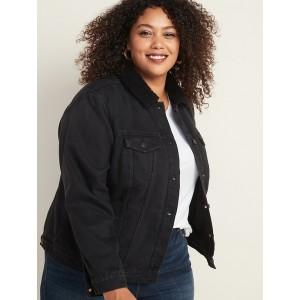Plus-Size Sherpa-Lined Black Jean Jacket