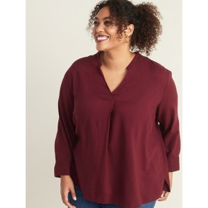 Relaxed Plus-Size Pleated-Front Top
