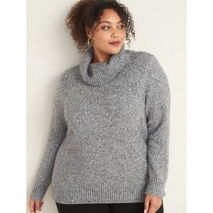 Plus-Size Marled Turtleneck Sweater