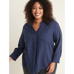Relaxed Plus-Size Striped V-Neck Blouse