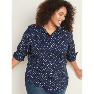 Patterned No-Peek Plus-Size Stretch Shirt for Women