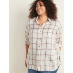 Drapey Flannel No-Peek Plus-Size Tunic Shirt