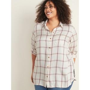 Drapey Flannel No-Peek Plus-Size Tunic Shirt