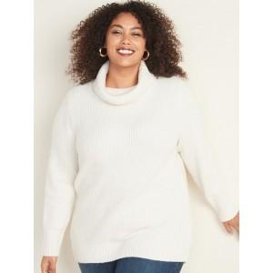 Plus-Size Shaker-Stitch Turtleneck Sweater