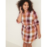 Waist-Defined Plus-Size Plaid Pullover Shirt Dress