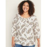 Plus-Size Floral Pintuck Blouse