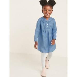 Pintucked Chambray Popover Shirt Dress for Toddler Girls