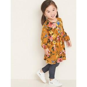 Floral Henley Swing Dress for Toddler Girls