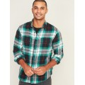 Regular-Fit Built-In Flex Plaid Flannel Shirt for Men