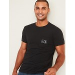 Soft-Washed Embroidered-Graphic Tee for Men