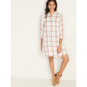 Plaid Popover Shirt Dress for Women
