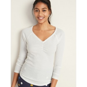 Thermal-Knit Picot-Trim V-Neck Tee for Women