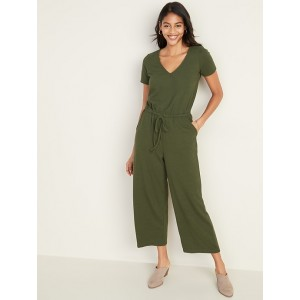 Boucle-Knit Waist-Defined Jumpsuit for Women