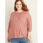 Plus-Size Pintuck Blouse
