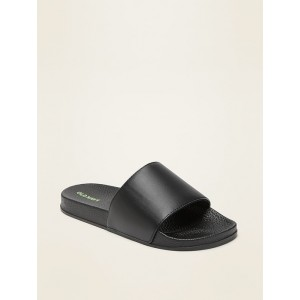 Faux-Leather Pool Slide Sandals for Boys
