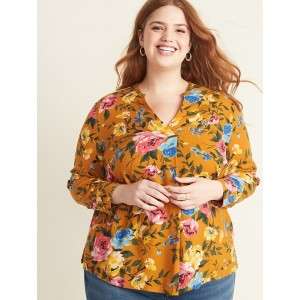 Relaxed Plus-Size Split-Neck Floral Top
