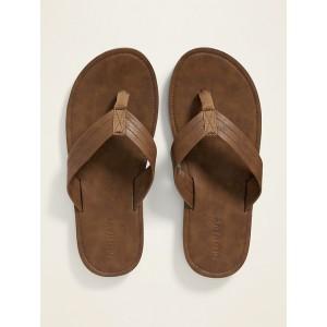 Faux-Leather Flip-Flops for Men