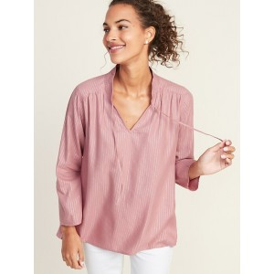 Waist-Defined Metallic-Stripe Top for Women