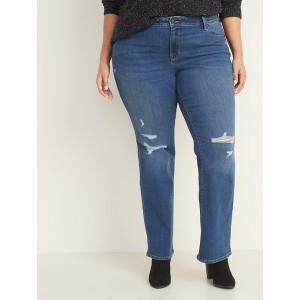 Mid-Rise Distressed Plus-Size Kicker Boot-Cut Jeans