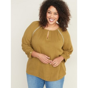 Embroidered-Stitch Plus-Size Blouse