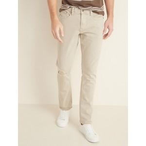 Slim Built-In Flex Distressed Khaki-Wash Jeans for Men