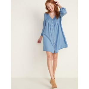 Pleated Chambray Swing Dress for Women
