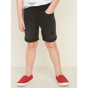Karate Rib-Knit Waist Jean Shorts for Toddler Boys