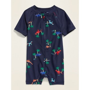 Printed Raglan-Sleeve One-Piece Rashguard for Baby